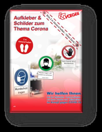 Katalog Corona Produkte - Aufkleber & Schilder zum  Thema Corona